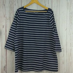 Ava & Viv Navy blue white striped top